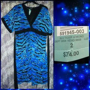 Torrid Blue & Black Tiger Print Kimono Dress Sz 2X